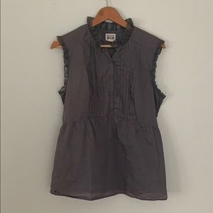 Converse One Star Grey Ruffled Button-Front Blouse